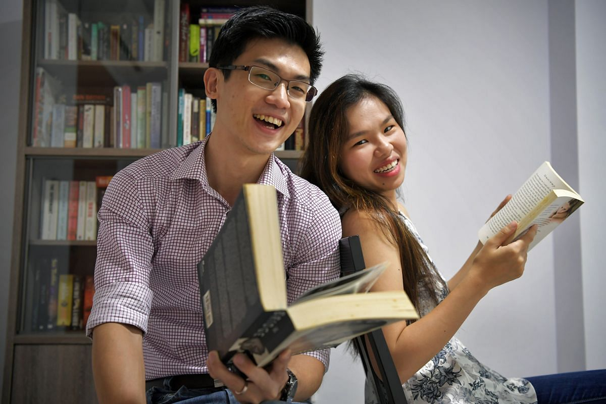 Married couple Adam Chua and Alexa Jiang (both above) match people looking to exchange books for free on their website, BooksAvenue.