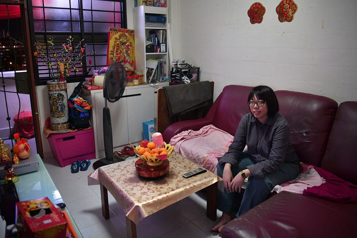 AFTER (above): Clutter has been cleared from the seating area. BEFORE (left): The sofa in Ms Chris Lim's home had things such as bags on it.
